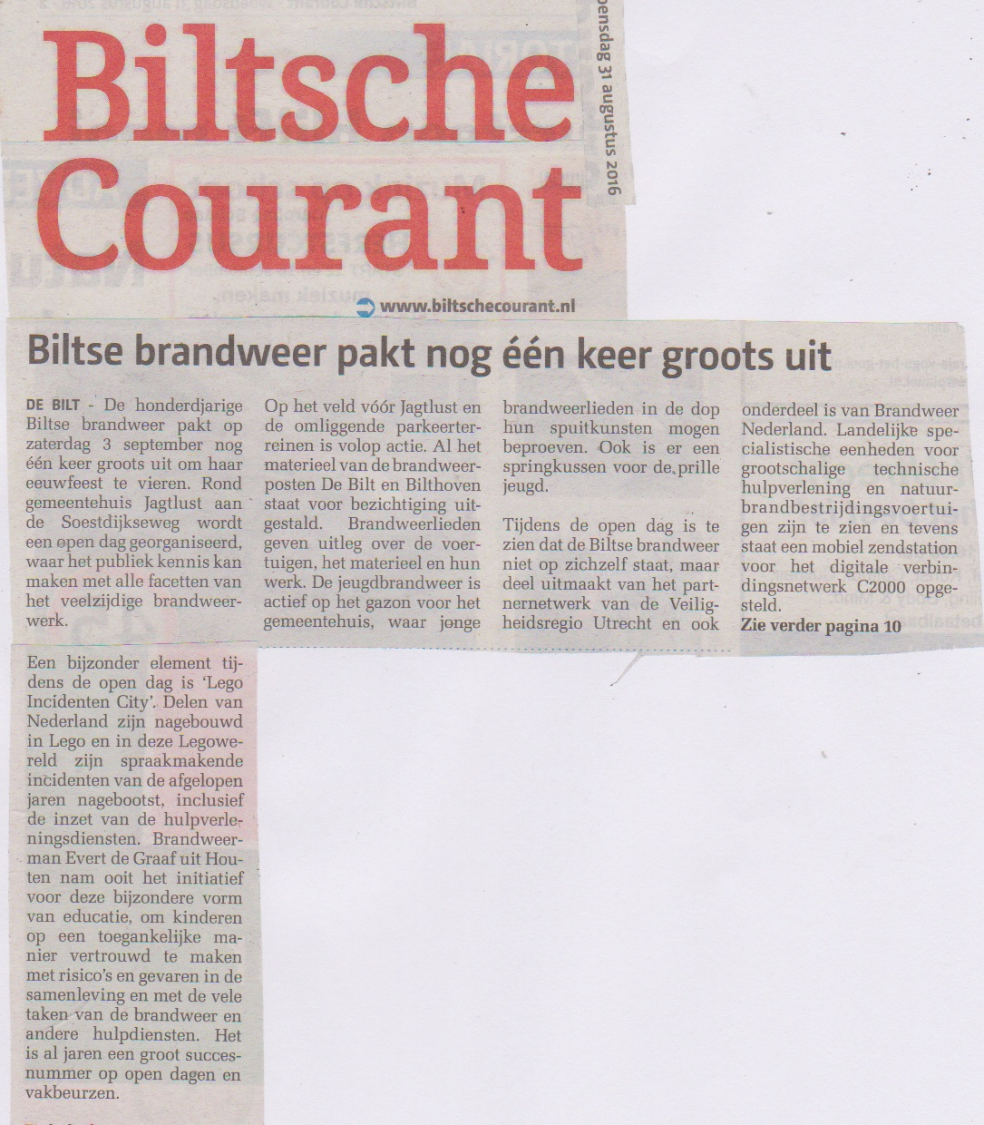 Biltse Courant Incidentencity 31 aug 2016